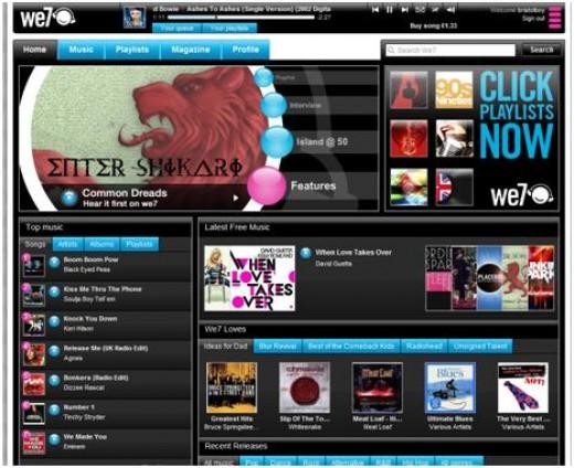 Screenshot of the We7 homepage.