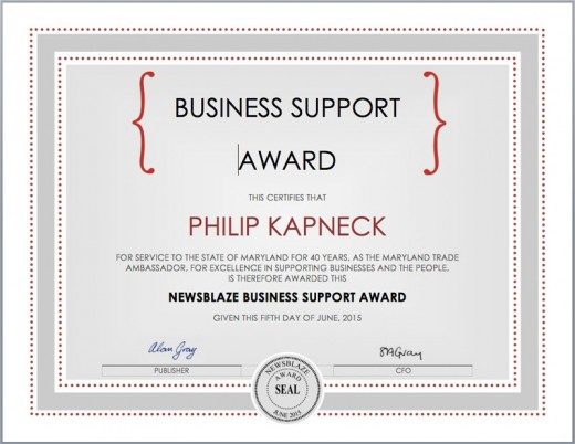 Philip Kapneck's 2015 Business Support Award