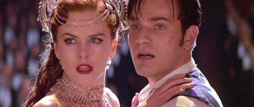 Satine portrayed by Nicole Kidman and Christian portrayed by Ewan McGregor