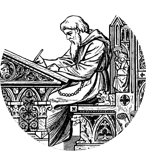 Medieval scribe at his desk - probably writing stuff about himself...