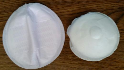 Lansinoh nursing pad (left) compared to Johnson's nursing pad (right).