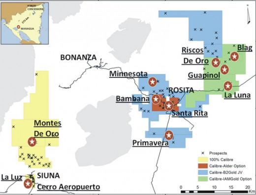 The exploration map and mining operations for Calibre Mining in the Bosawas Biosphere, Nicaragua