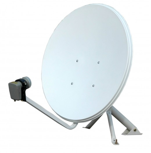 Satellite television dish used in homes and in other places of work.
