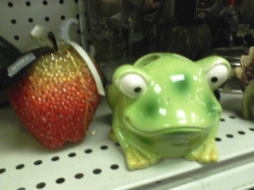 I liked this frog. I've seen giant versions of the glitter fruit thing at Marden's. Like the size of my head, that big.
