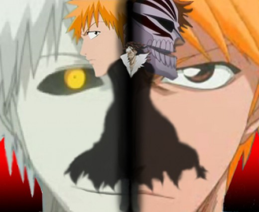 Hollow Ichigo (left), Zangetsu (center), and Ichigo (right)
