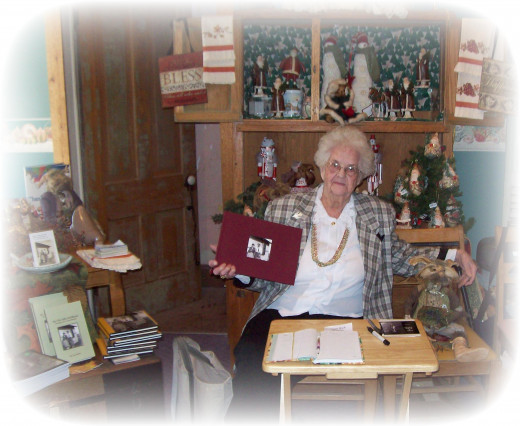 Here's my 85 year old mother with her second booksigning at a bookstore near her hometown.