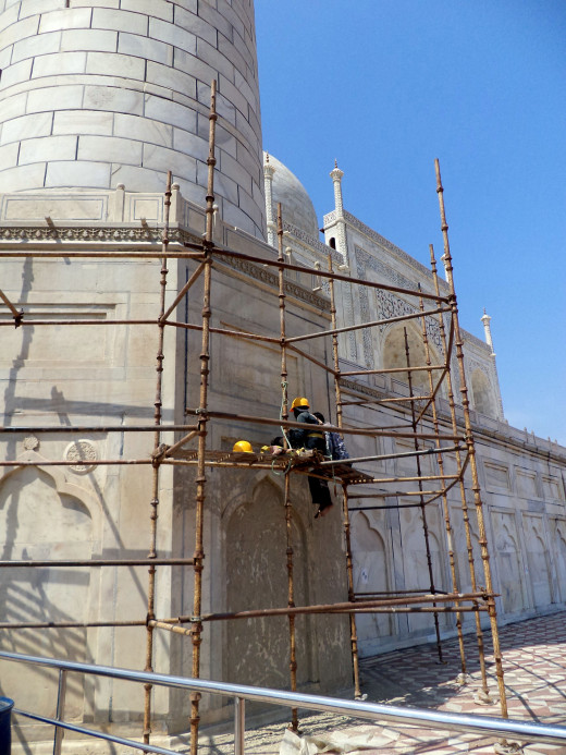 Part Of The Taj Mahal Exterior Being Restored With   Multani Mitti Used To Beautify Skin In India