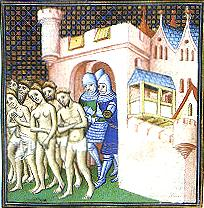 Walls are used to keep out those who differ from us racially, religiously, as these Cathars being expelled from the ancient walled city of Carcassonne demostrate. Image from Wikipedia