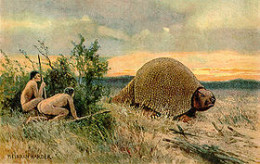 Paleo Indians hunting a large glyptodon