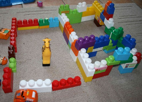 Do we have a wall-buiilding instinct? My daughter Caitlin's building with her Megablocks.