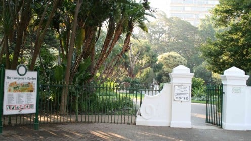 The modern day gates of the Company Gardens in Cape Town