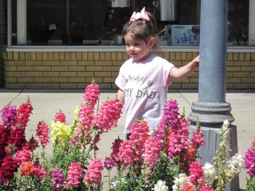April snapdragons and a proud Army daughter in downtown Eufaula, Alabama.
