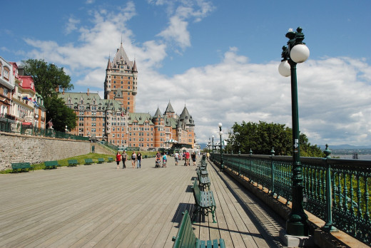 The Fairmont Le Chateau Frontenac is a world-famous hotel that overlooks Quebec City.