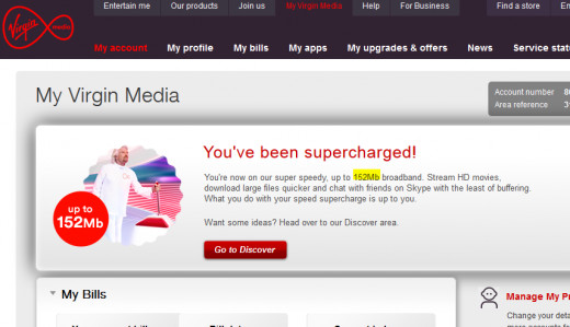 An example of 152mb Virgin Media broadband connection
