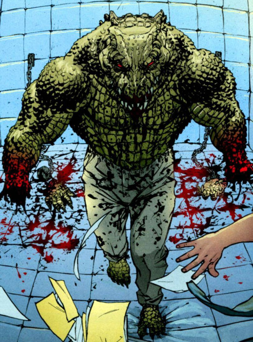 Killer Croc after having ripped off his own hands, something which in this case was not an issue for him, who even knows why.