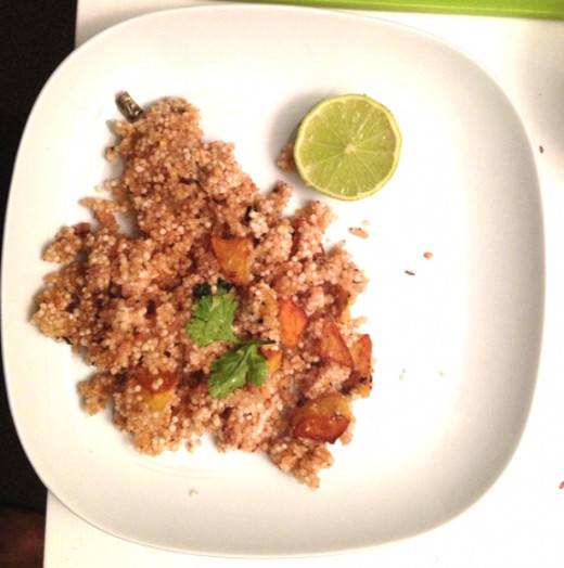 Sabudana Khichdi is served with lime