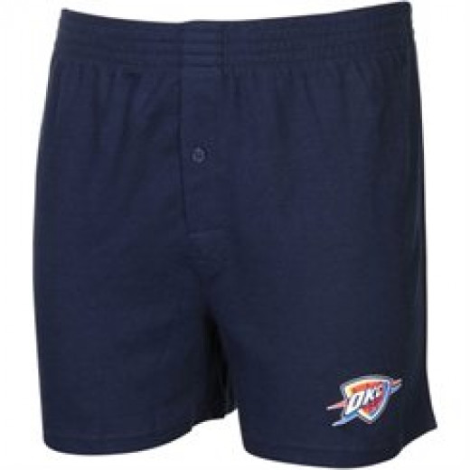 Navy-colored boxer shorts