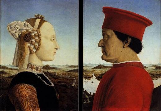 Piero Della Francesca, Portrait of the Montefeltro Dukes (1465), Florence Uffizi
