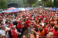 Ole Miss Rebel fans and Georgia Bulldog rooters tailgate before the big game, but one can tell that these fans really do not like each other.