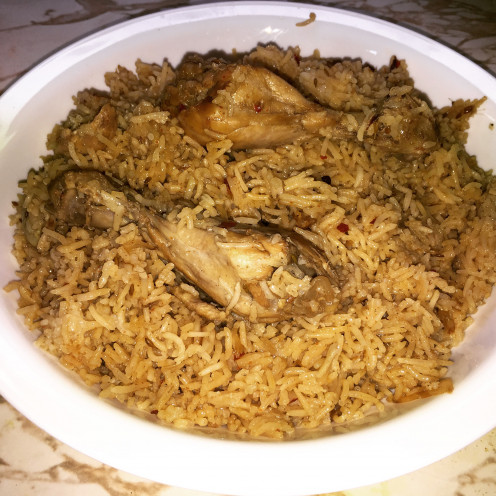 Flavorful chicken pulao ready to be served