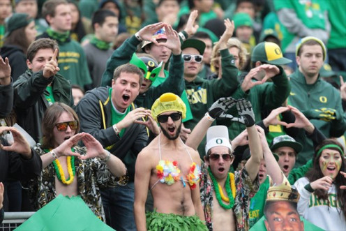 These fans of The Oregon Ducks may look placid, but rile them up and a riot will break-out in a short time.