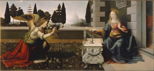 Leonardo da Vinci, Annunciation (a. 1475), Florence Uffizi