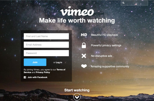 Making an account is easy. Simply follow the link below to Vimeo's homepage and select one of two options: Connect through Facebook, or create a brand-new Vimeo account from scratch. Don't worry; they don't ask for too much information.