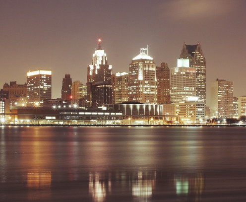 Downtown Detroit skyline.