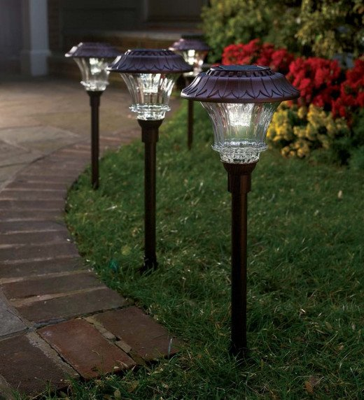 Some solar lights come in red, white or blue colors.  Use them to illuminate pathways or however you wish.