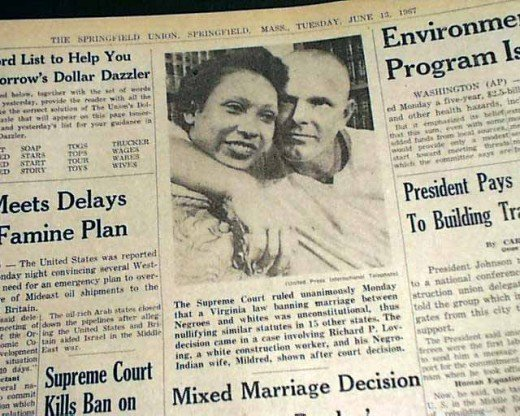 This is a picture of a newspaper headline about the 1967 US Supreme Court ruling that declared a Floridian law that forbade interracial co-habitation unconstitutional.