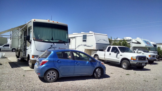 RV sites are packed in tight with no privacy or shade