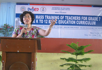 Bicol University  President Fay M. Lauraya emphasizes the need for the regional mass training in order to equip the teachers for the students to be globally competitive in skills.