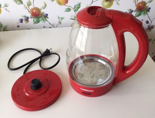Farberware Electric Glass Tea Kettle and base.