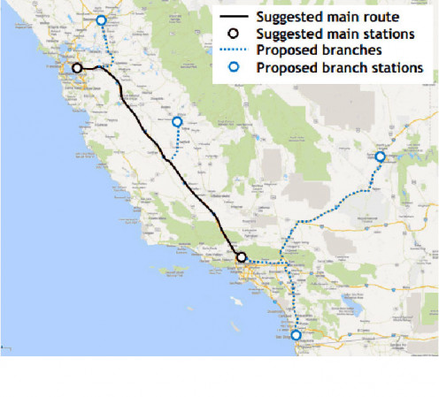 The proposed path of the world's first and only Hyperloop. With San Francisco only minutes away, now Los Angeles won't have to steal somebody else's football team!