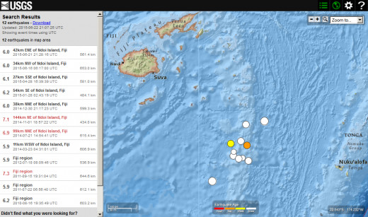 Five years of seismic activity (5.9 magnitude or larger) in area southeast of Fiji and west of Tonga.