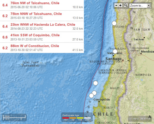 Seismic activity (6.2 magnitude or greater) off the central coast of Chile (2 years ending June 2015).