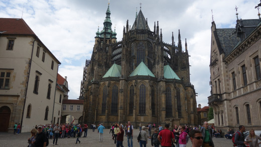 Image of the Back of St. Vitus Cathedral.  Prague, Czech Republic