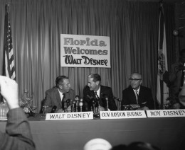 Walt Disney (left) with his brother Roy (right) and the then governor of Florida W. Haydon Burns (center) on November 15, 1965, publicly announcing the creation of Disney World.