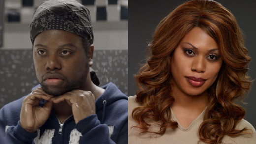 Laverne Cox as Sophia in Orange is the new Black (right). Her twin brother playing as Marcus (Sophia's birth identity, Left).