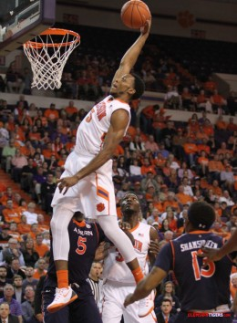 Jaron Blossomgame's remarkable shooting percentages were not the result of dunks- although he can do that too.