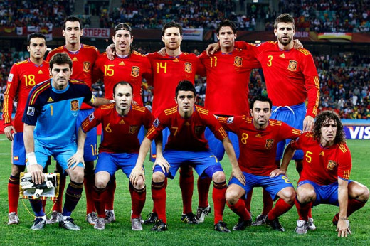 Spain World Cup winning team of 2010 in South Africa