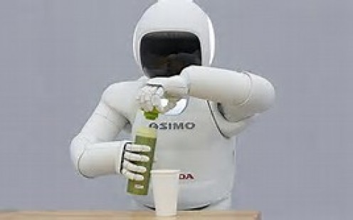 Honda came out with a robot that can talk, walk up stairs, dance and even pour a drink.