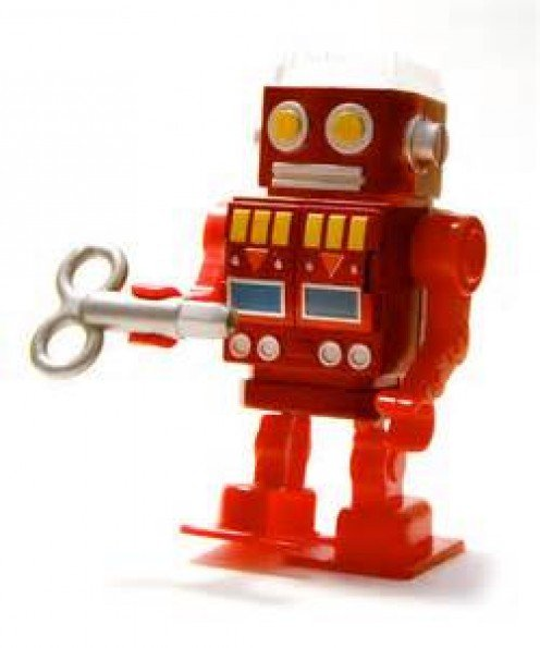 This robot from long ago was a wind up robot that walked, moved its arms and made sounds.