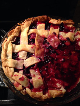 Berry pie made from berries picked from bushes