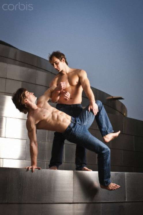 One of these male dancers could find himself on the ground.
