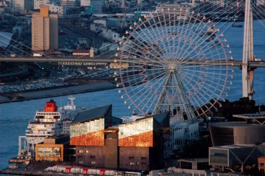 The Tempozan Ferris wheel and Osaka aquarium, Osaka
