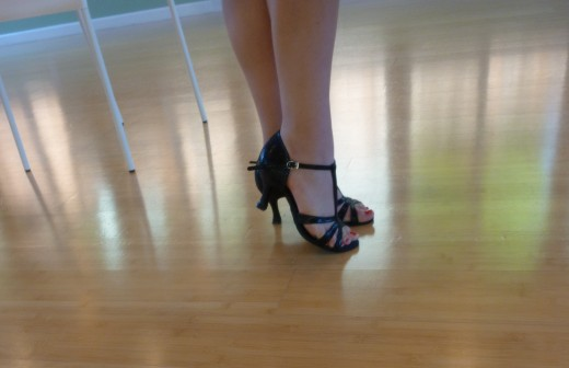 Wearing my new favorite black T-strap Latin dance shoes by Supadance