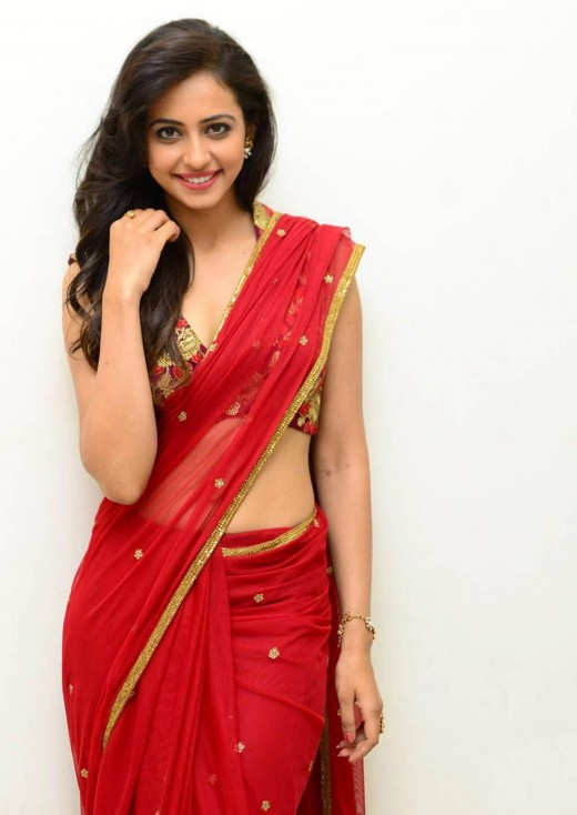 Sexy in Hot Red Saree