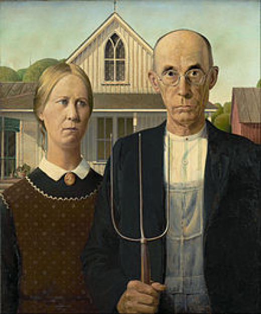 'American Gothic' iconic portrait by Grant Wood 1930