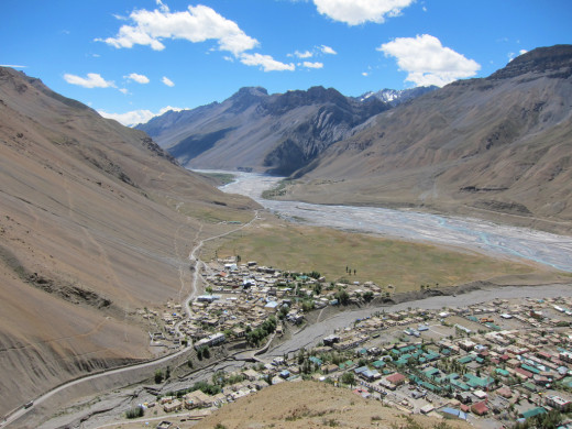 Aerial view of Kaza